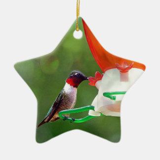A Ruby Throated Hummingbird Ceramic Ornament