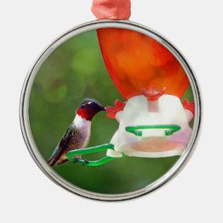 A Ruby Throated Hummingbird Metal Ornament