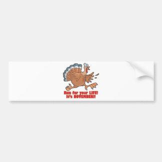 a run for life funny turkey bumper sticker