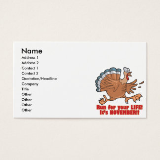 a run for life funny turkey business card