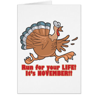 a run for life funny turkey card
