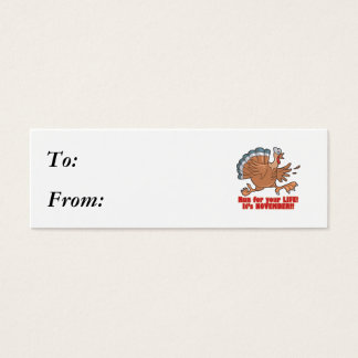 a run for life funny turkey mini business card