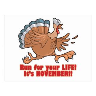 a run for life funny turkey postcard