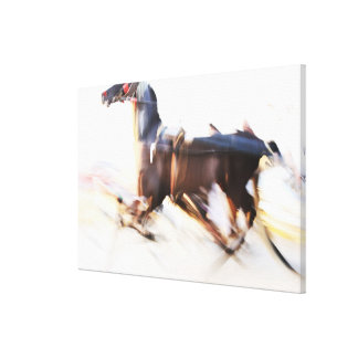 A running horse at a high speed is competing in canvas print