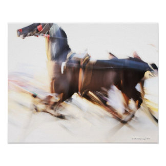 A running horse at a high speed is competing in poster