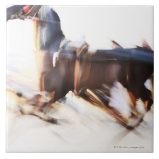 A running horse at a high speed is competing in tiles