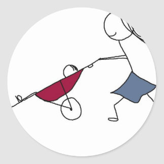 A running mommy is a happy mommy classic round sticker