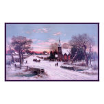 A Rural White Christmas Snow in the Morning Poster