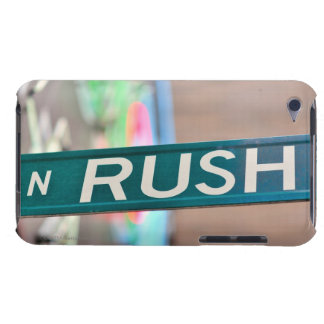 A Rush Street street sign in front of a neon iPod Touch Case-Mate Case