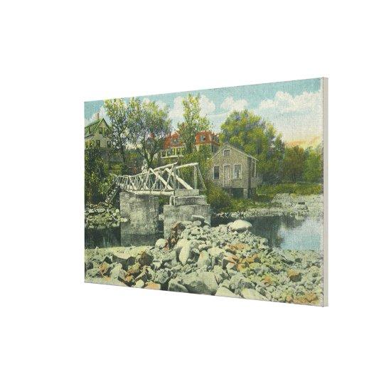 A Rustic Bridge at Perkins Cove Scene Canvas Print