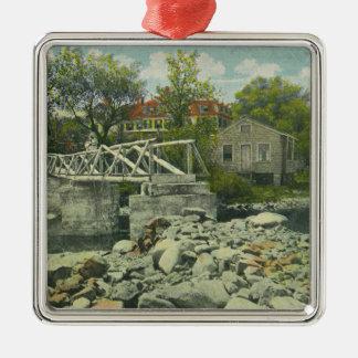 A Rustic Bridge at Perkins Cove Scene Metal Ornament
