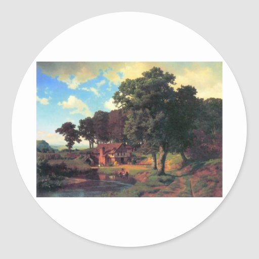 A rustic mill by Bierstadt Classic Round Sticker
