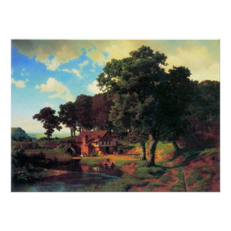 A rustic mill by Bierstadt Poster