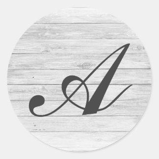 (A) Rustic Wood Monogram | Monogram Shop Classic Round Sticker
