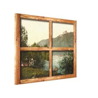 A rustic wooden window view of Rana Riedl Austria Canvas Print