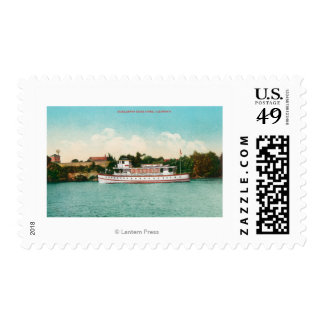 A Sacramento River Scene with a Riverboat Postage