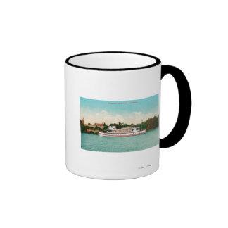A Sacramento River Scene with a Riverboat Ringer Mug