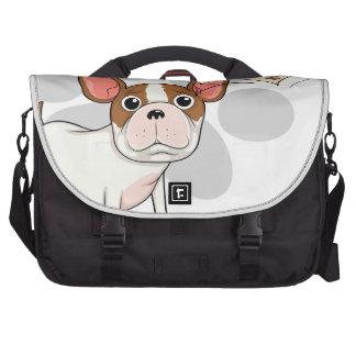 A sad bulldog with an empty callout commuter bag