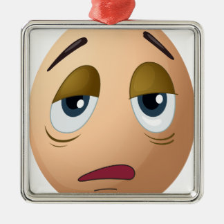 A sad egg square metal christmas ornament