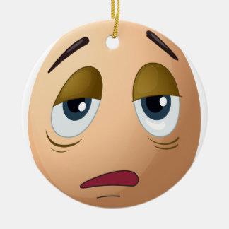 A sad egg Double-Sided ceramic round christmas ornament