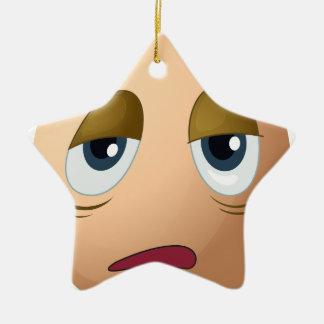 A sad egg Double-Sided star ceramic christmas ornament