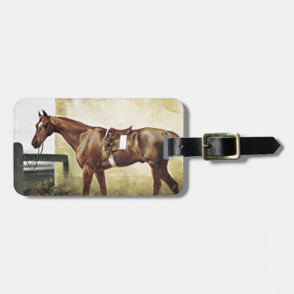 A Saddled Race Horse Tied to a Fence by Horace Ver Bag Tag