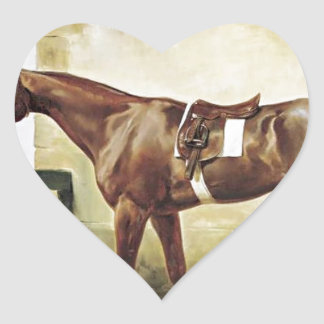 A Saddled Race Horse Tied to a Fence by Horace Ver Heart Sticker