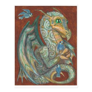 A Safe Perch dragon and bluebird postcard