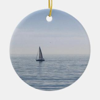 A Sailboat on a Calm Sea Ceramic Ornament