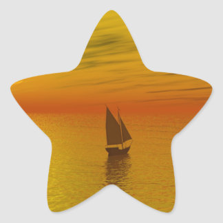 A sailing boat. star sticker