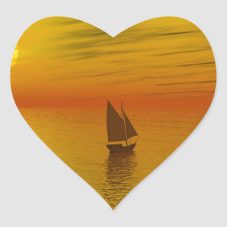 A sailing boat. heart stickers