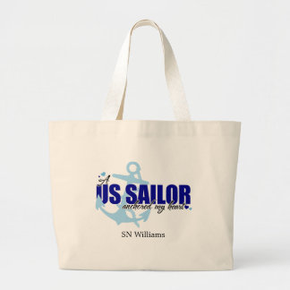 A Sailor Anchored My Heart Large Tote Bag