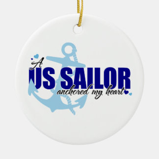 A Sailor Anchored my Heart Double-Sided Ceramic Round Christmas Ornament