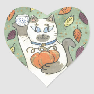 A Sake Toast to Harvest Time Heart Sticker