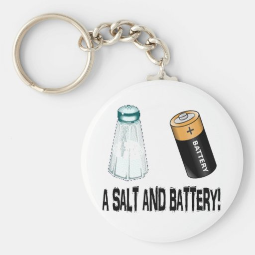 A Salt and Battery! Basic Round Button Keychain