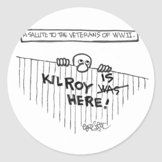 A Salute to Veterans of WWII (Kilroy) Classic Round Sticker