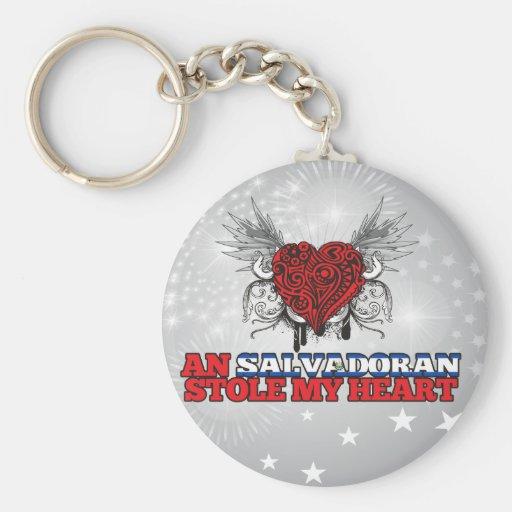 A Salvadoran Stole my Heart Basic Round Button Keychain