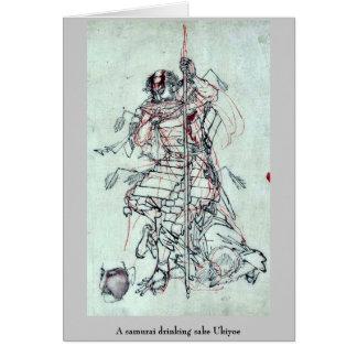 A samurai drinking sake Ukiyoe Cards