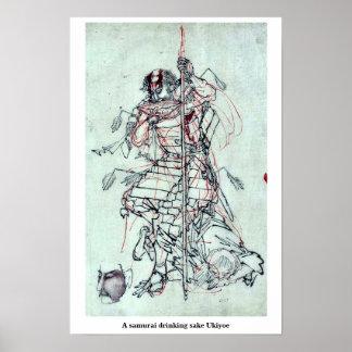 A samurai drinking sake Ukiyoe Print