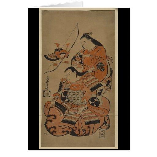 A Samurai's Wife Prepares Him for Battle c. 1713 Card