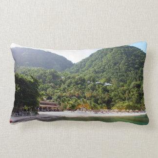 A sandy beach on the island of Saint Lucia Lumbar Pillow
