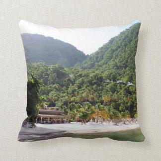 A sandy beach on the island of Saint Lucia Throw Pillow