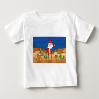 a santa claus and a reindeer baby T-Shirt