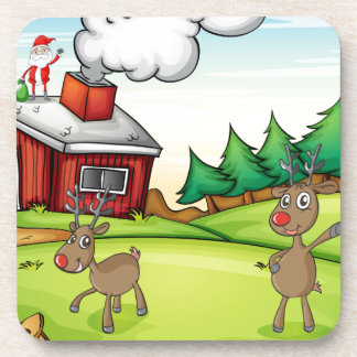 a santa claus and a reindeer beverage coaster