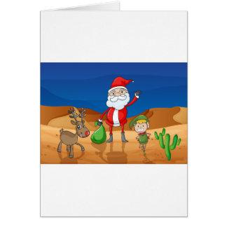 a santa claus and a reindeer card