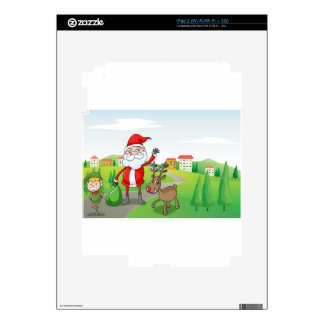 a santa claus and a reindeer decal for iPad 2