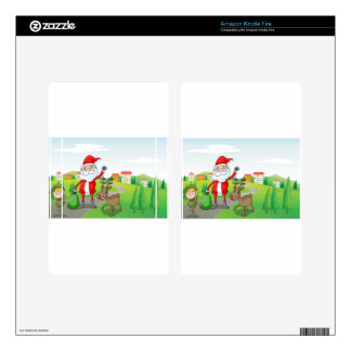 a santa claus and a reindeer decal for kindle fire