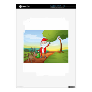 a santa claus and a reindeer decal for the iPad 2