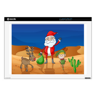 a santa claus and a reindeer decals for laptops
