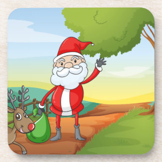 a santa claus and a reindeer drink coaster